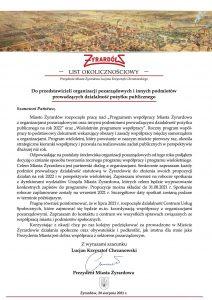 List okolicznościowy Prezydenta Miasta Żyrardowa