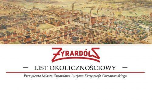 List okolicznościowy Prezydenta Miasta do organizacji